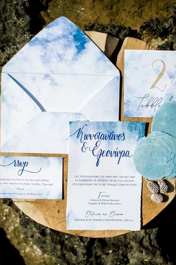 wedding invitations in blue colour