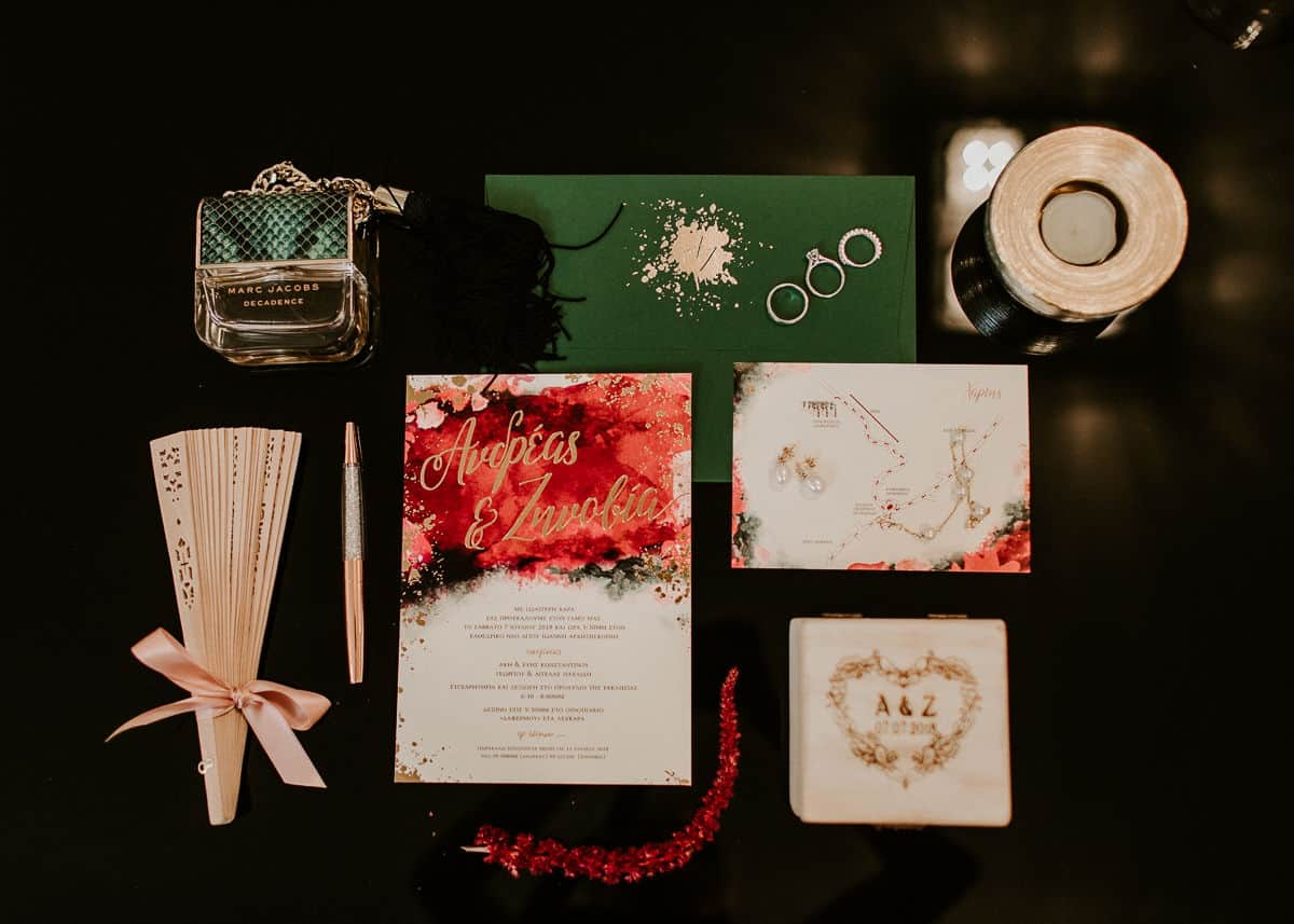 wedding invitation with green envelope