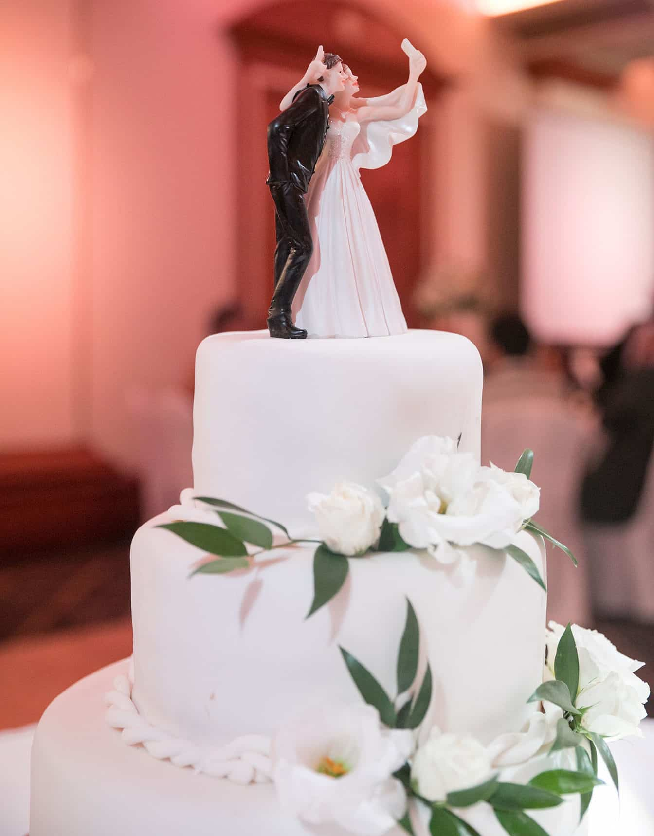 wedding cake with white flowers