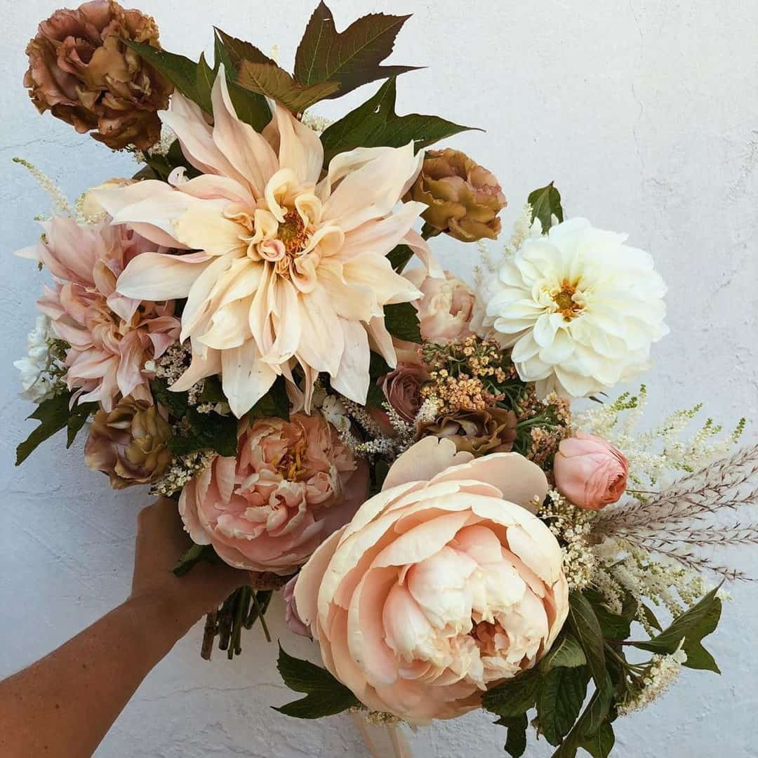 wedding bouquet with dallies and celosia peonies