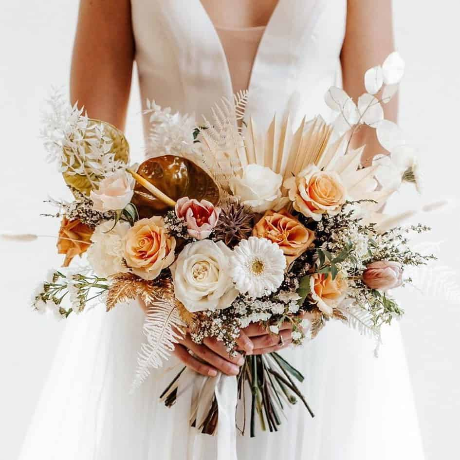 wedding bouquet with lunaria annua, roses and amaranth