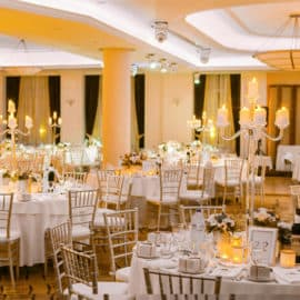 Decorated tables for a wedding reception at Ajax Hotel in Cyprus.