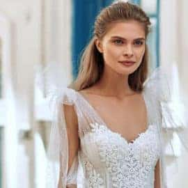 Model wearing a wedding dress by Anna Christina Bridal in Cyprus.