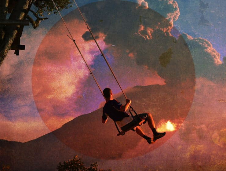 A man on a swing tied to a tree, with the moon and a mountain as a background as part of artistic editing.