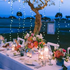 Dinner table for wedding reception at golf course, Aphrodite Hills in Paphos.