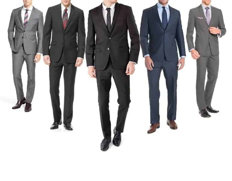 A sample of various suits for grooms by Bidi Menswear in Cyprus.
