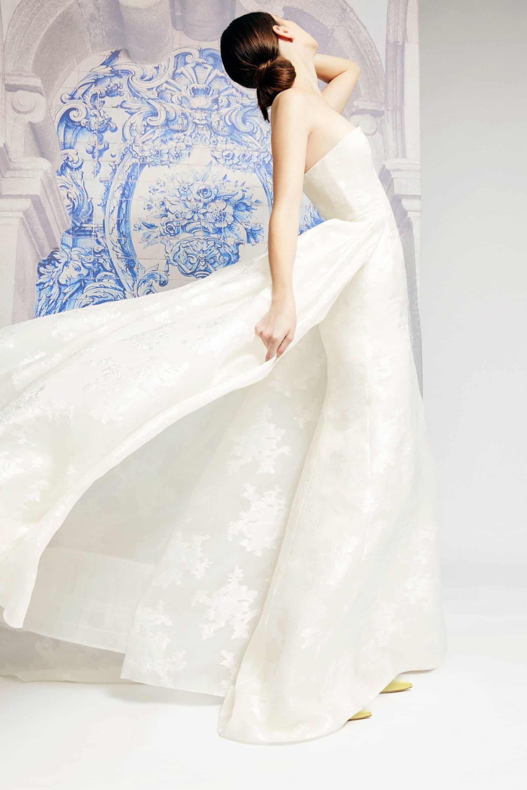 strapless wedding dress with extra tail fall 2019 by Carolina Herrera