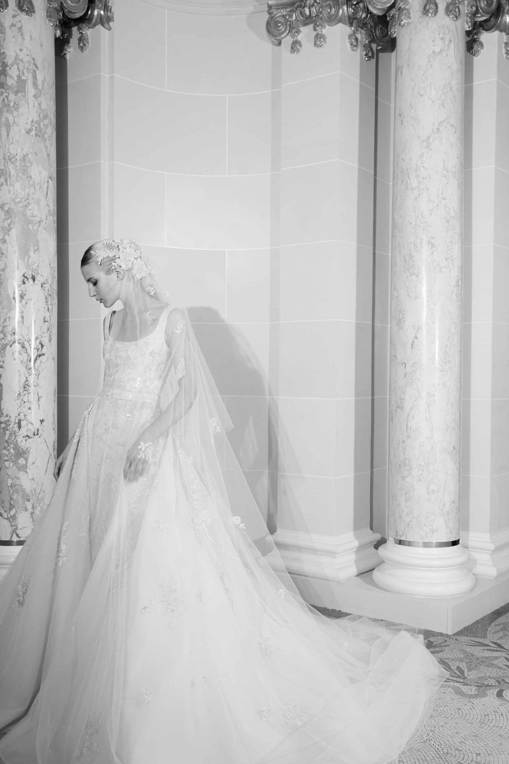 wedding dress a-lined with lace veil by Elie Saab