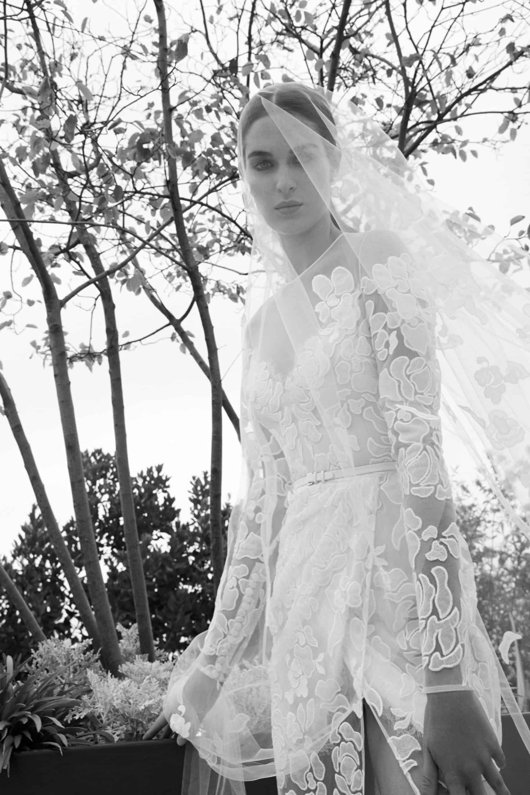 lace wedding dress with veil by Elie Saab