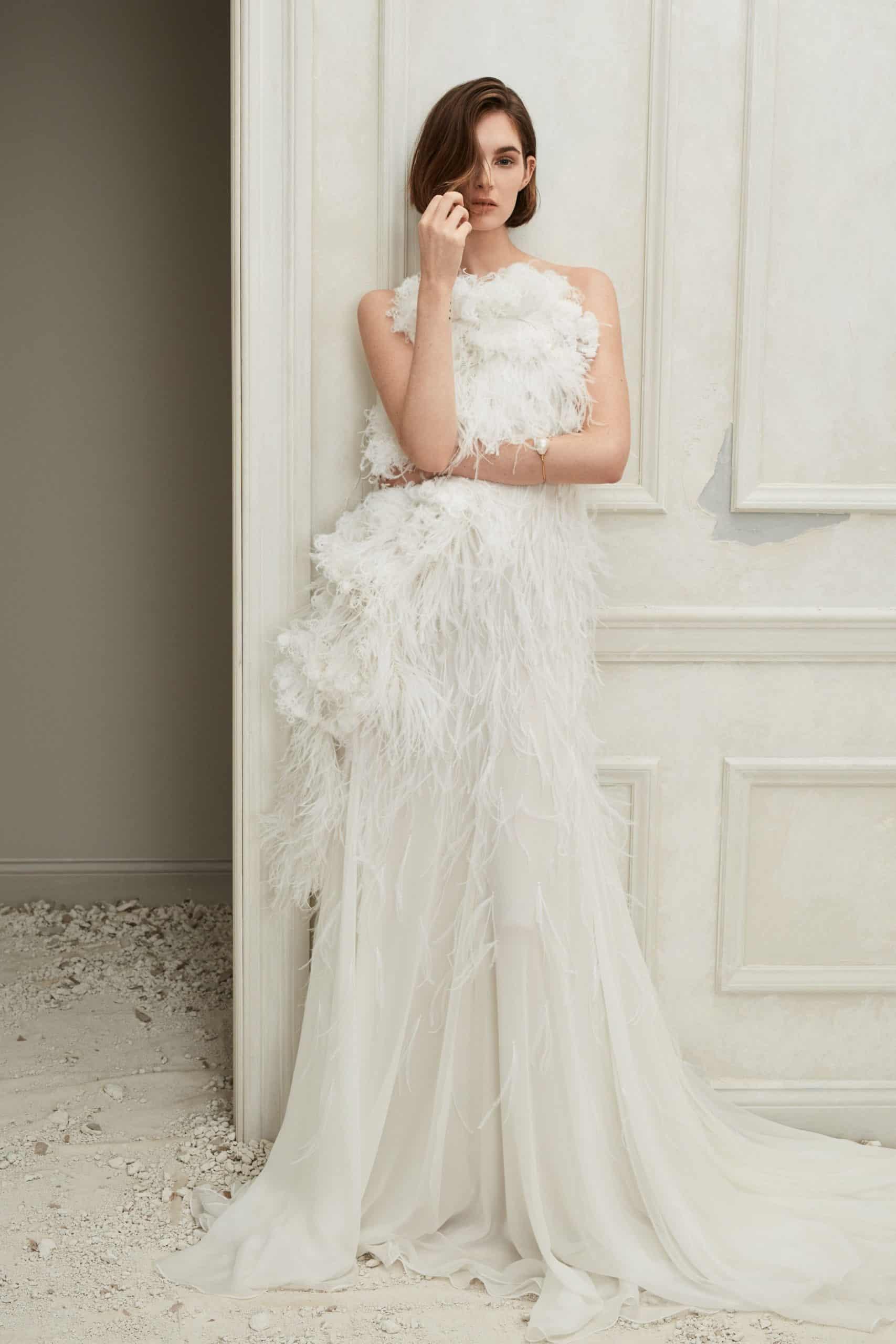 wedding dress with feathers fall 2019 by Oscar de la Renta