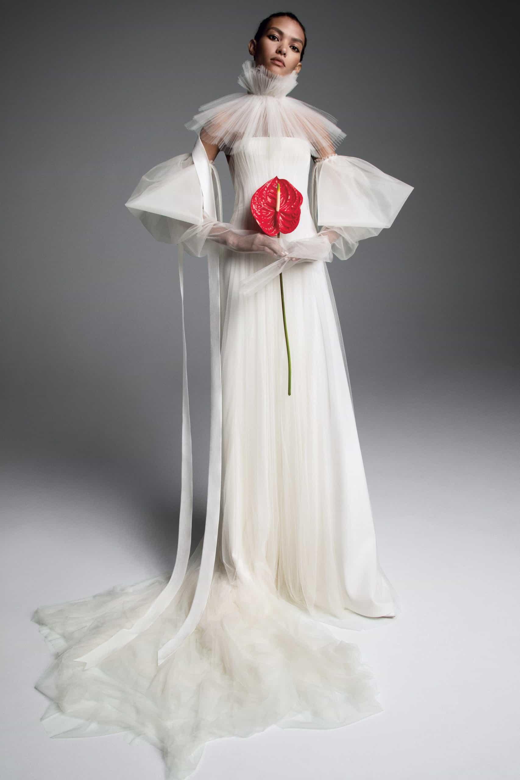 a high- volume tulle neck wedding dress fall 2019 by Vera Wang