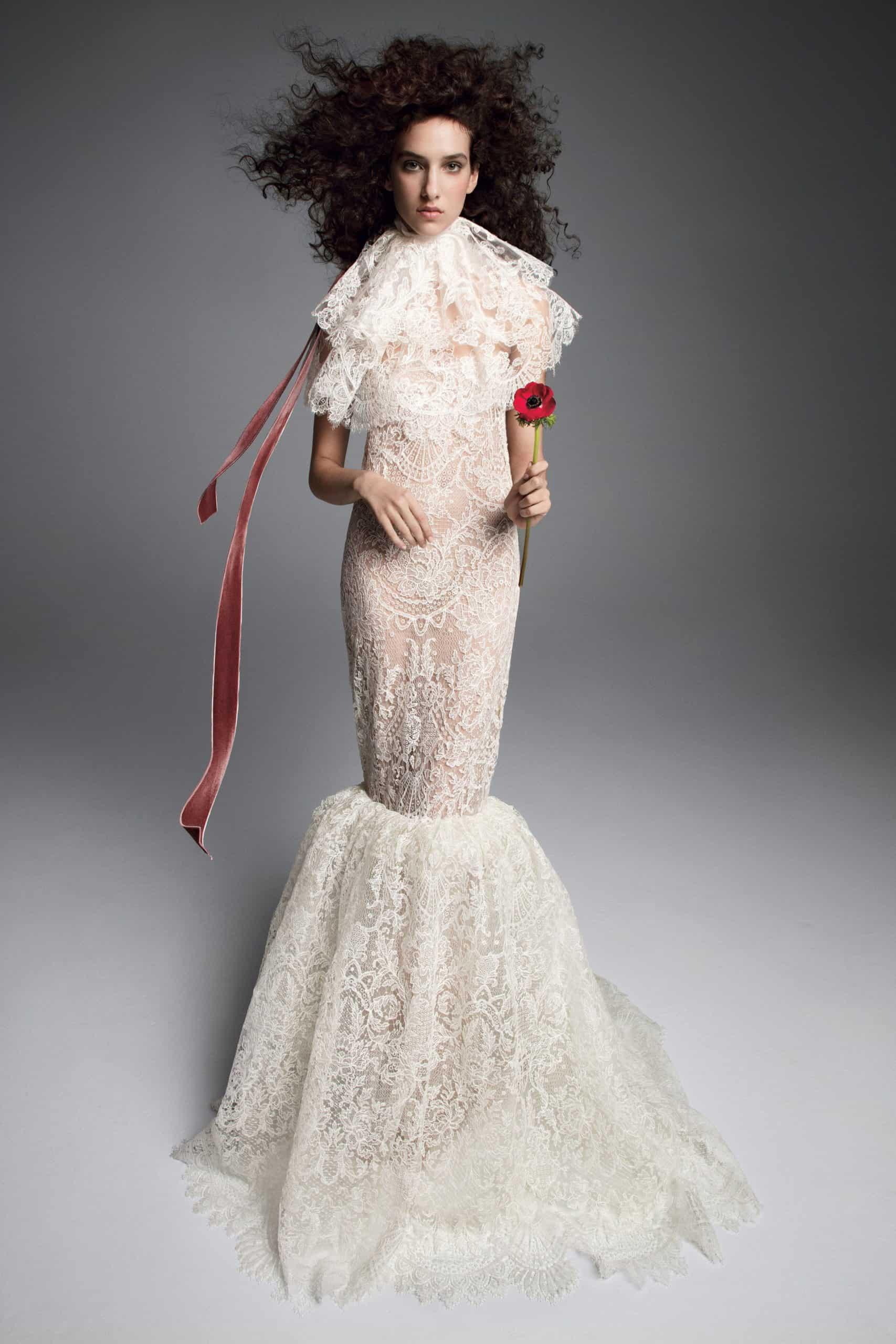 a high- volume lace neck wedding dress fall 2019 by Vera Wang