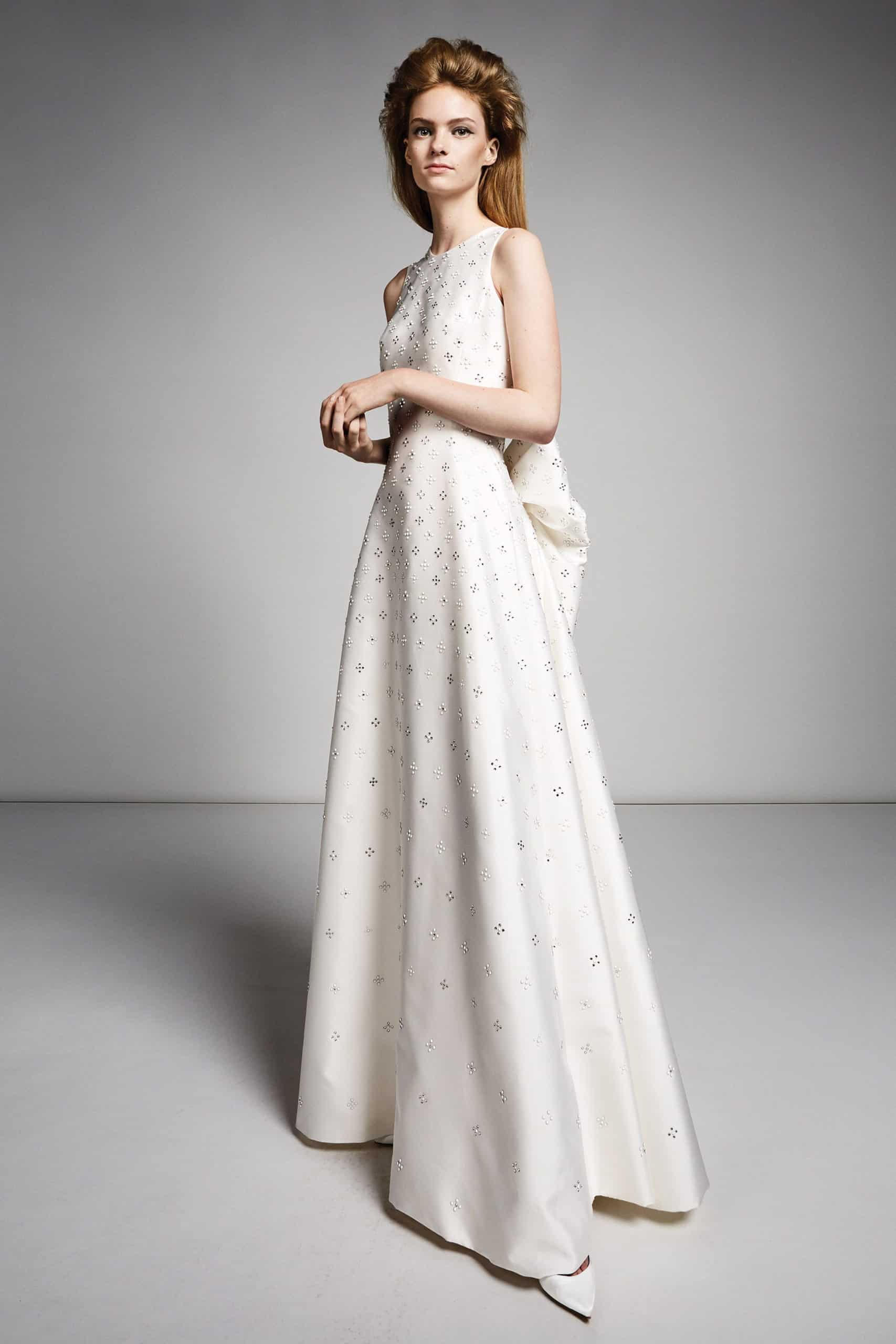 silk wedding dress with crystals and back bow by Viktor and Rolf