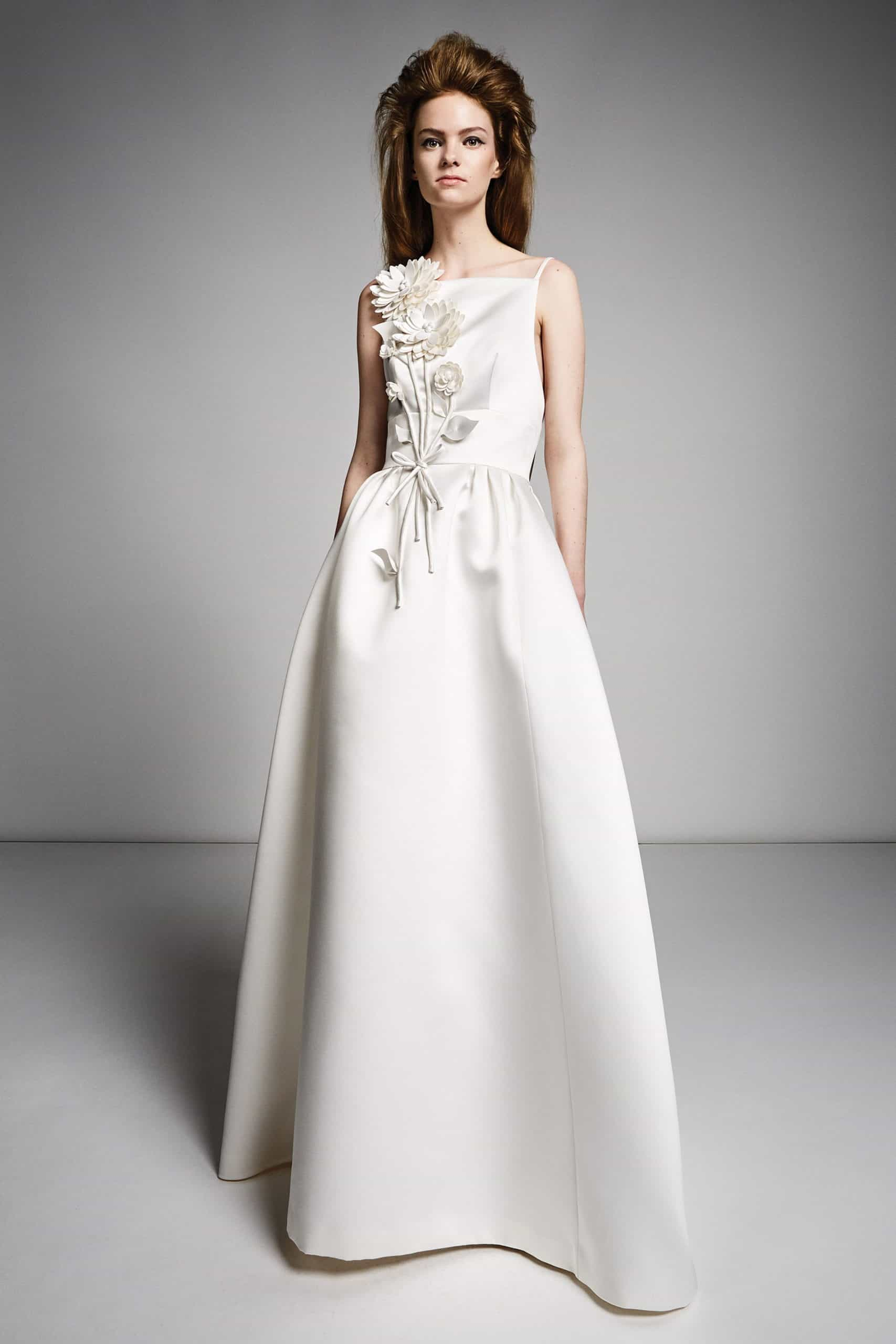silk wedding dress with embossed flowers by Viktor and Rolf