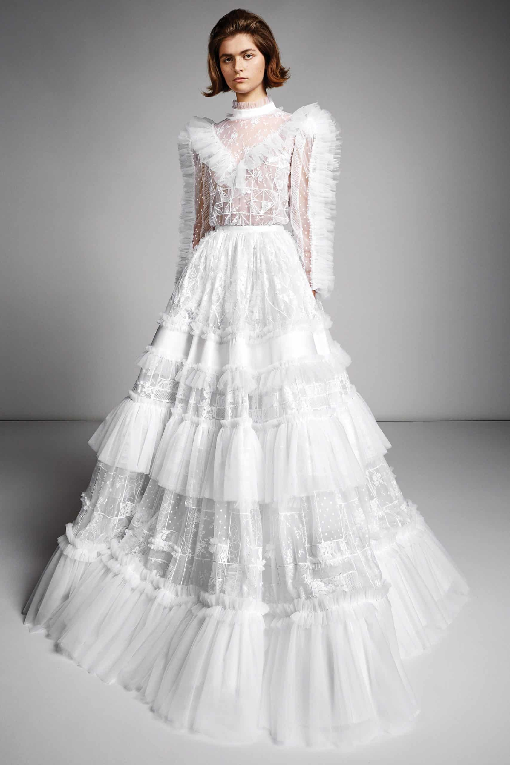 modern wedding dress a-lined with tulle and lace by Viktor and Rolf