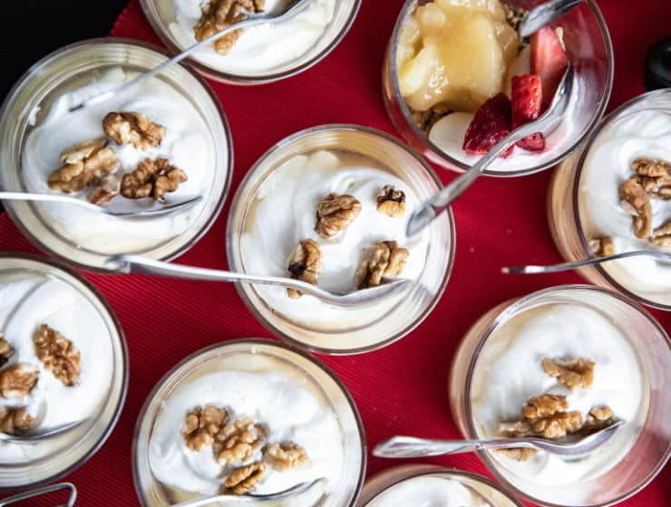 Yoghurt desserts for a wedding buffet by Cafe La Mode Catering in Cyprus.