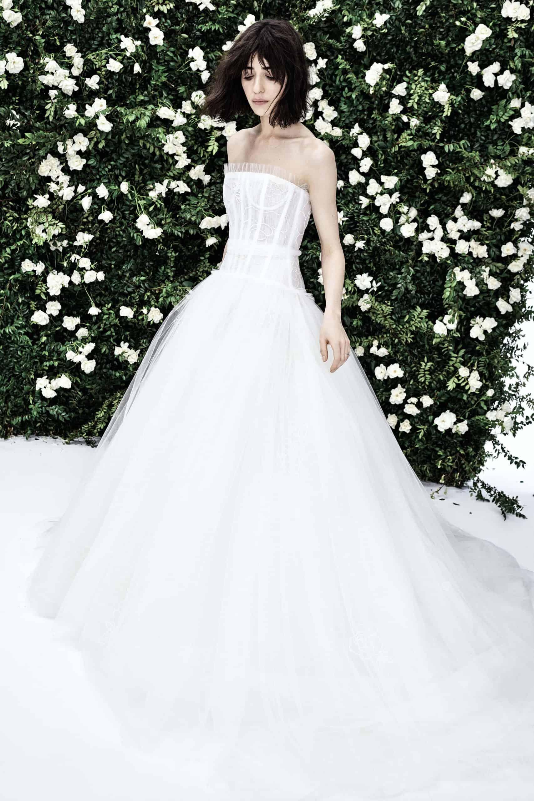 a-line wedding dress with tulle by Carolina Herrera