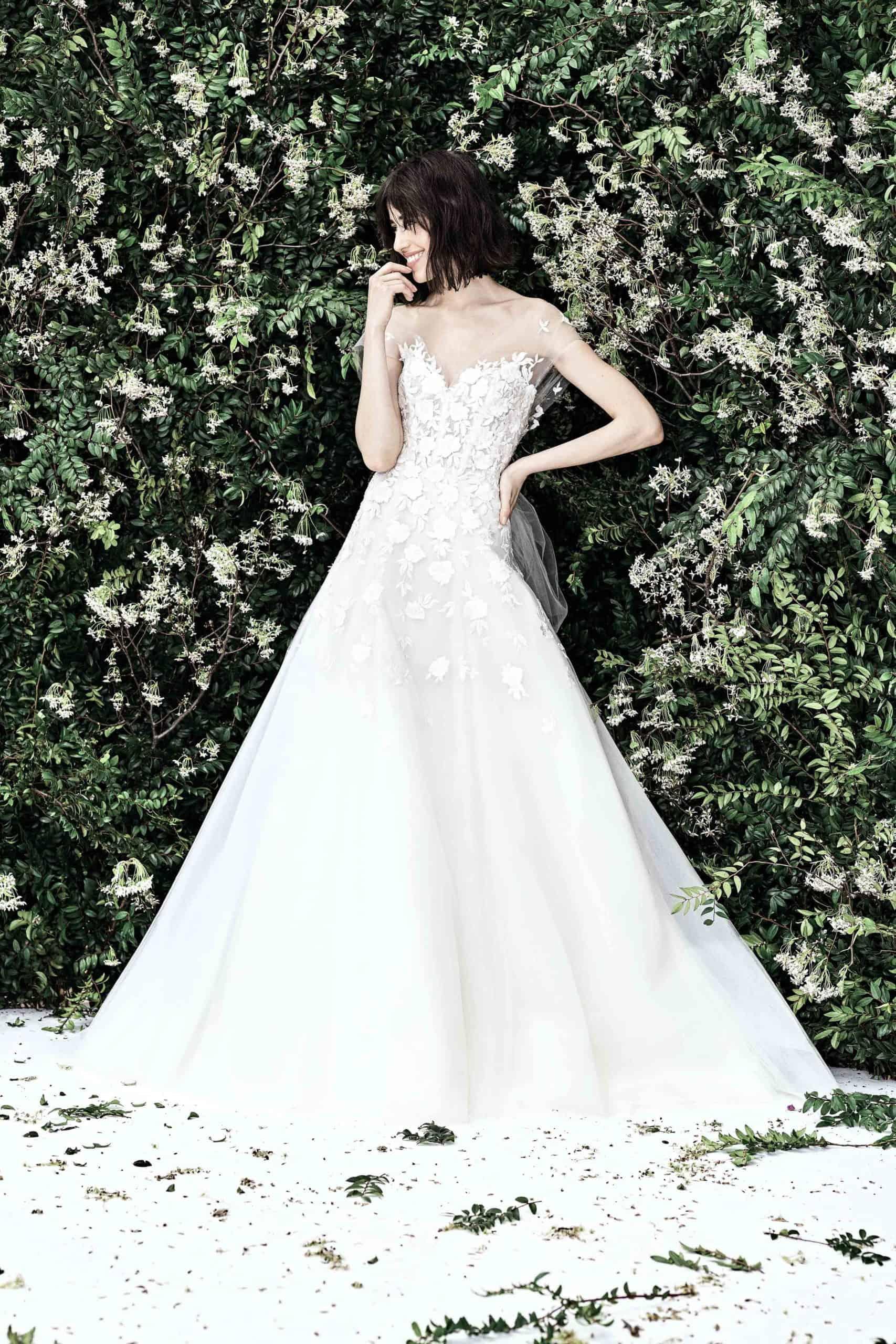 strapless a-line wedding dress with lace by Carolina Herrera