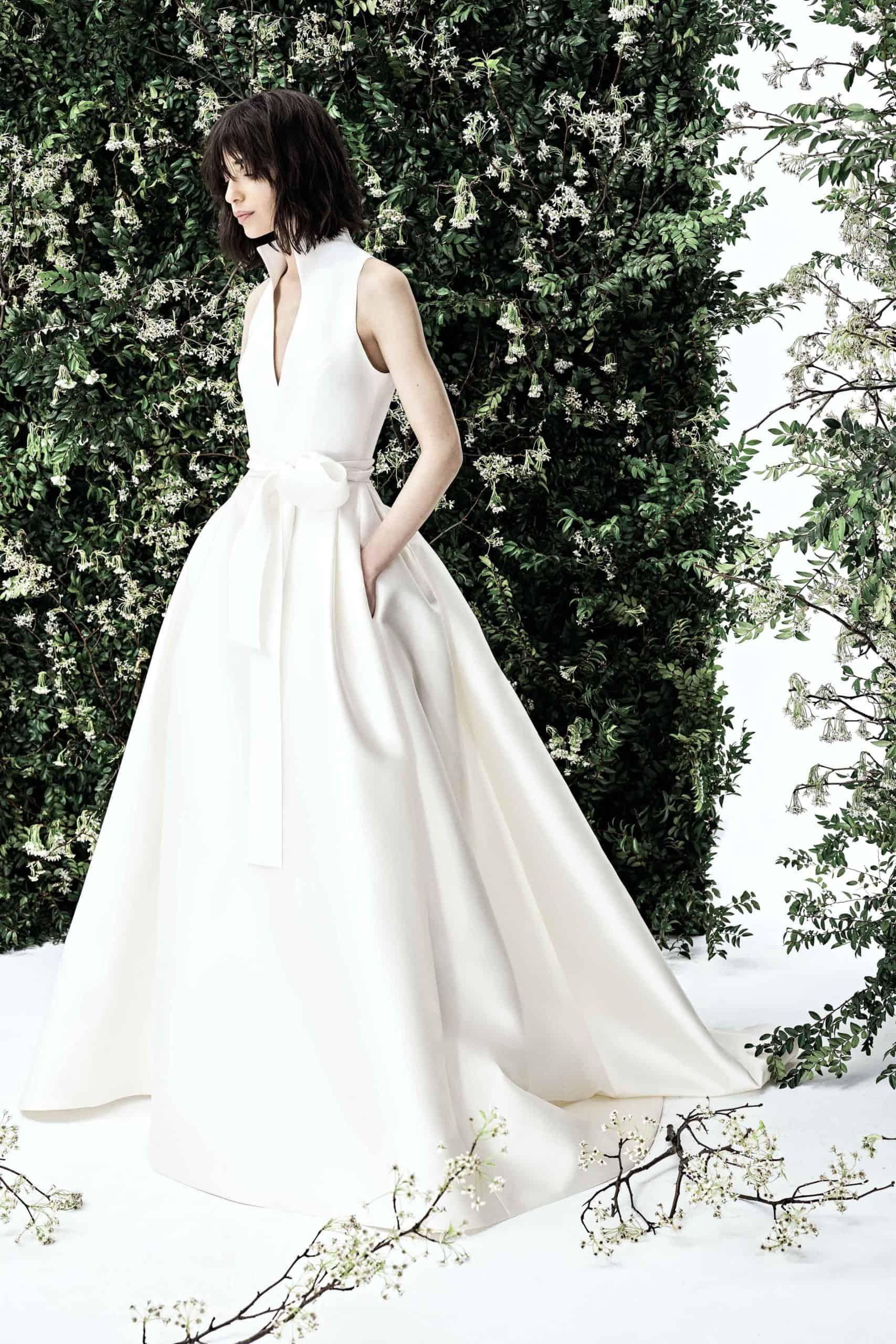 satin wedding dress with pockets by Carolina Herrera