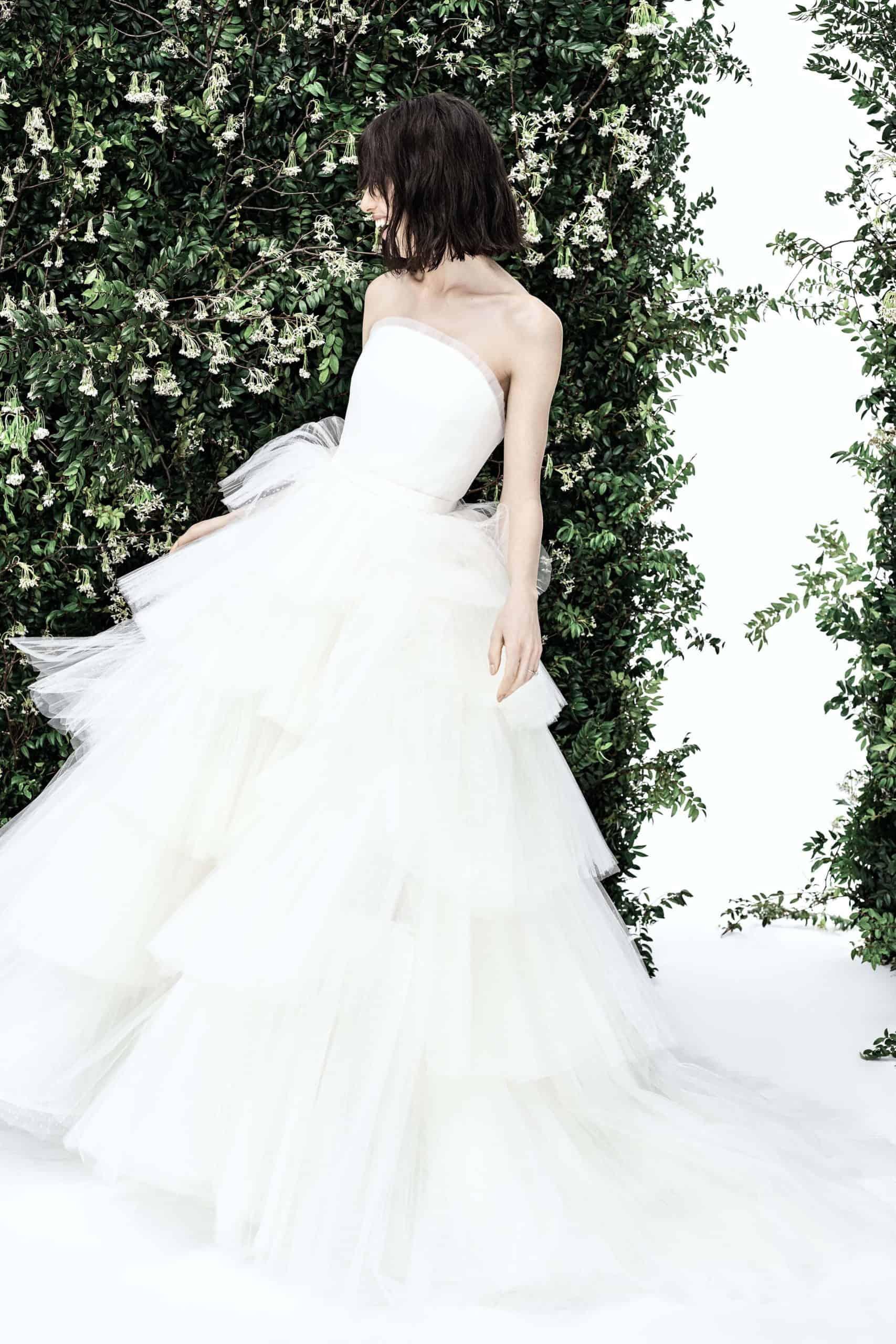 a-line tulle wedding dress extra volume skirt by Carolina Herrera