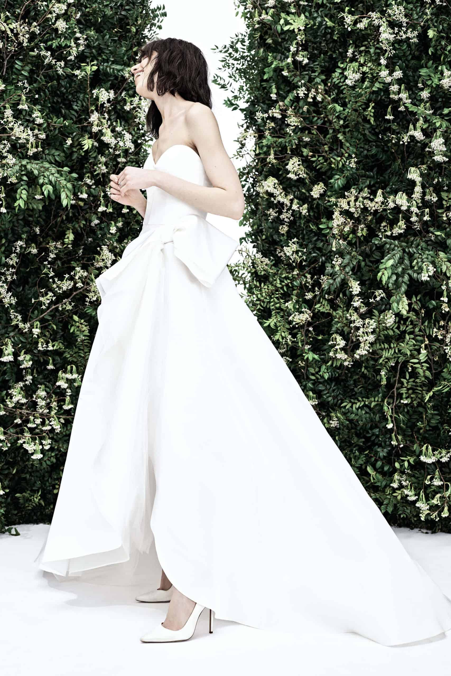 wedding dress with large bow by Carolina Herrera