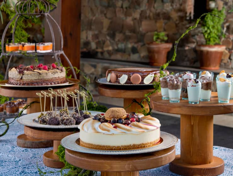 Desserts showcased for a wedding reception, by Catercom Catering in Cyprus.