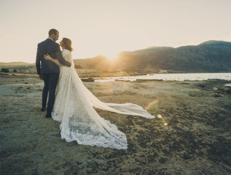 Wedding photoshoot at the sea with mountains in the background, by Cimelio Team Petros Pattakos.