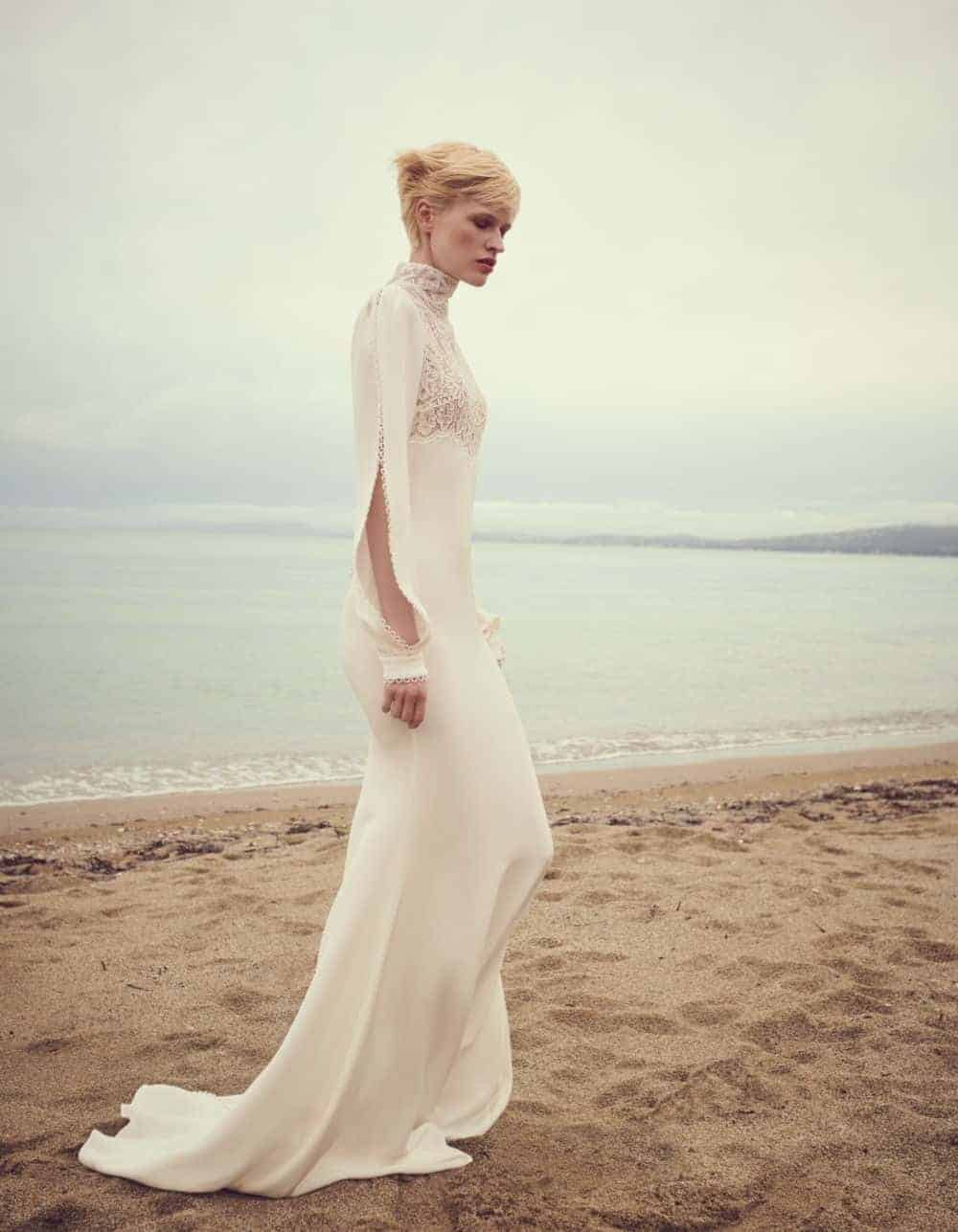 silk wedding dress with long sleeves by Costarellos