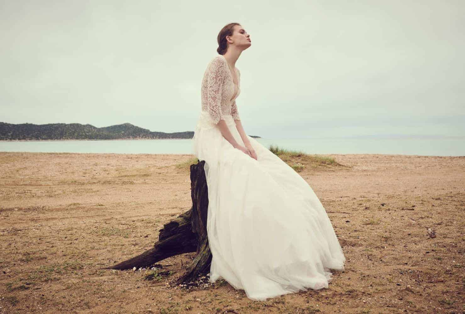 a-line wedding dress with lace and tulle by Costarellos