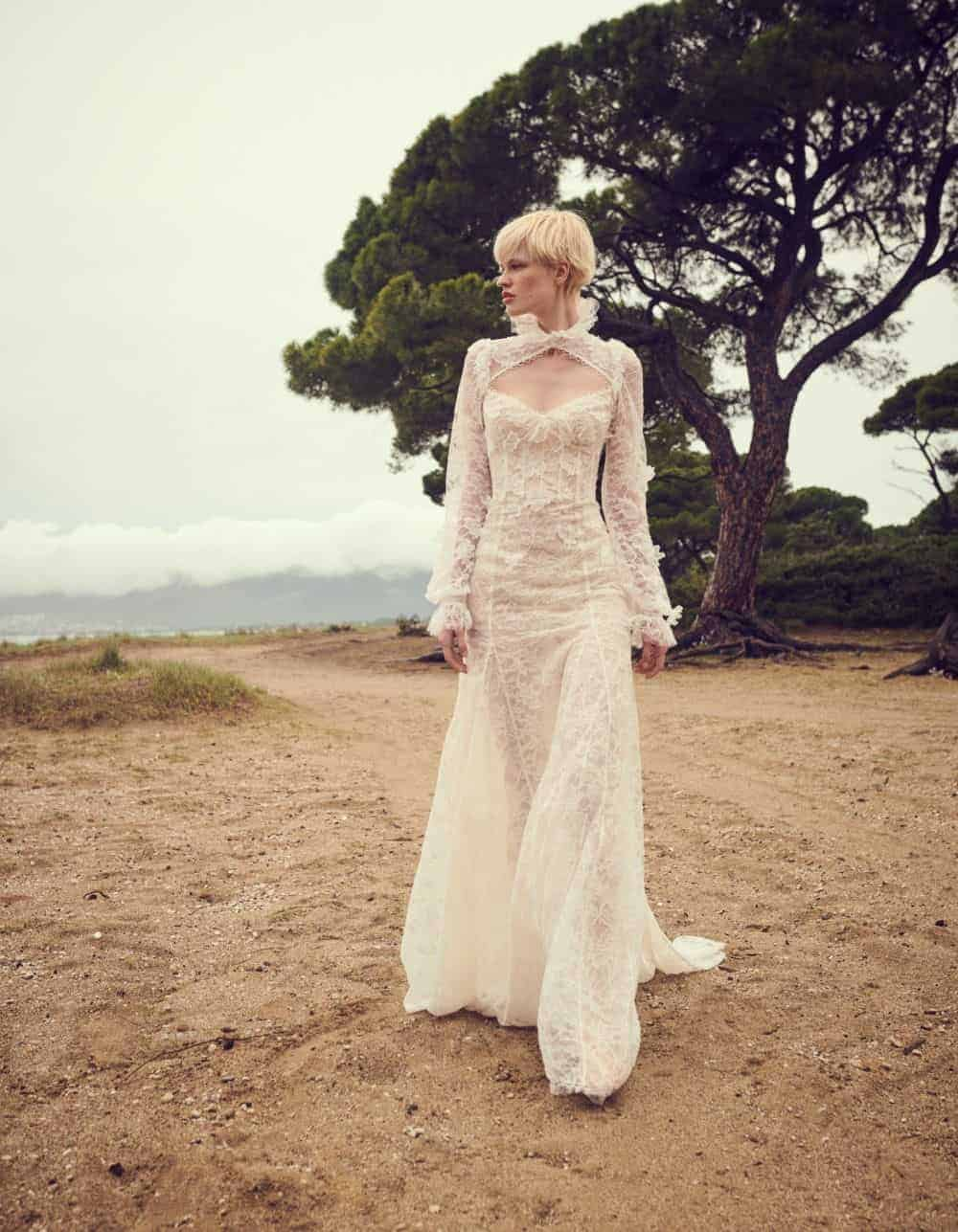 wedding dress with lace and collar by Costarellos