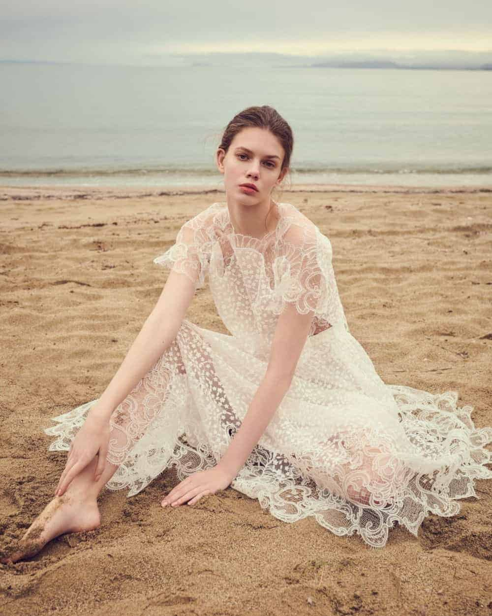 a-line wedding dress with lace by Costarellos