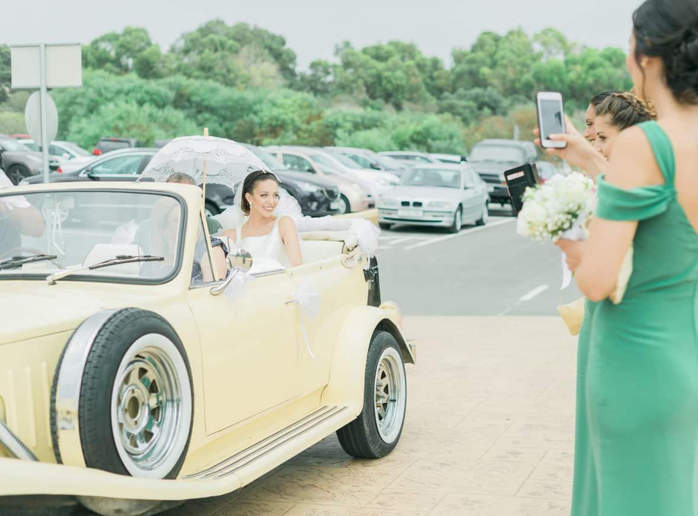 bride in classic car