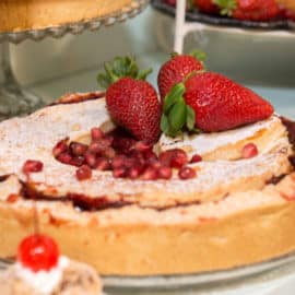 A fruit tart at a wedding reception, baked by Ermis Bakery in Cyprus.
