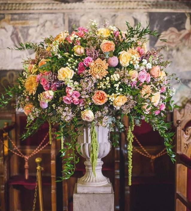 real wedding in Cyprus wedding decoration with colourful spring flowers