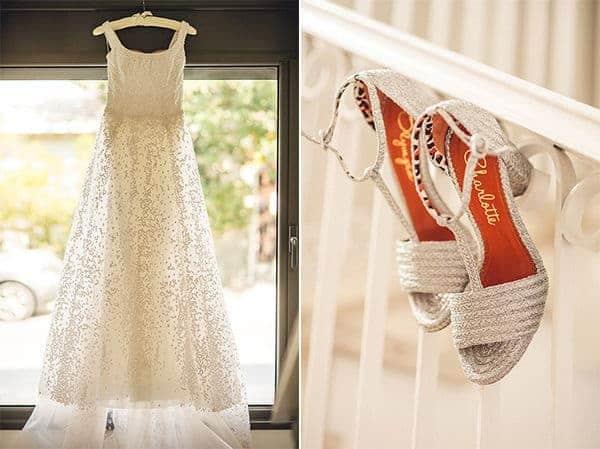το νυφικό και τα παπούτσια της νύφης