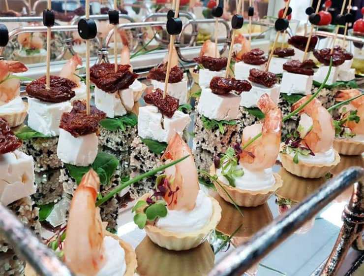 Appetisers at a wedding reception, made by Food2Impress Catering.