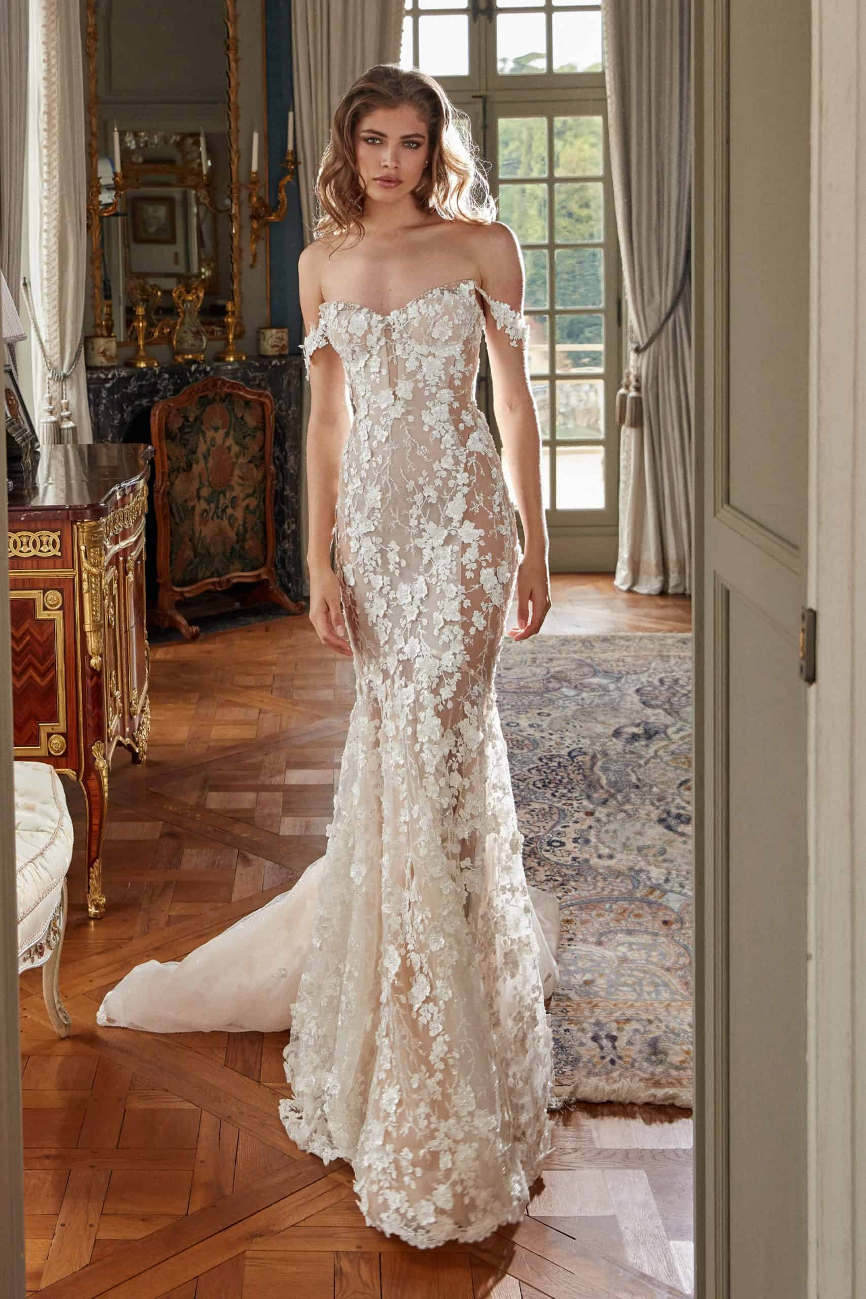 lace wedding dress with embossed floral lace by Galia Lahav