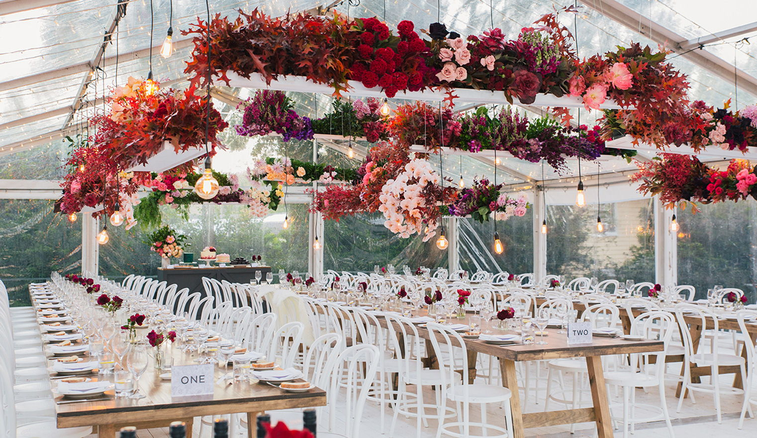 wedding dinner hanging decoration with red and pink flowers