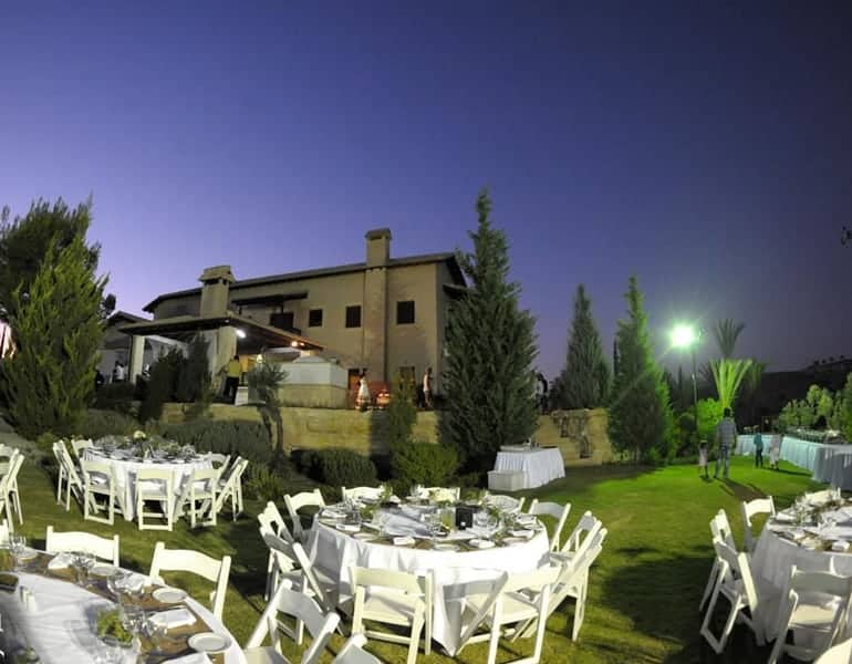 A wedding reception at the gardens of Ktima Oasis in Cyprus.