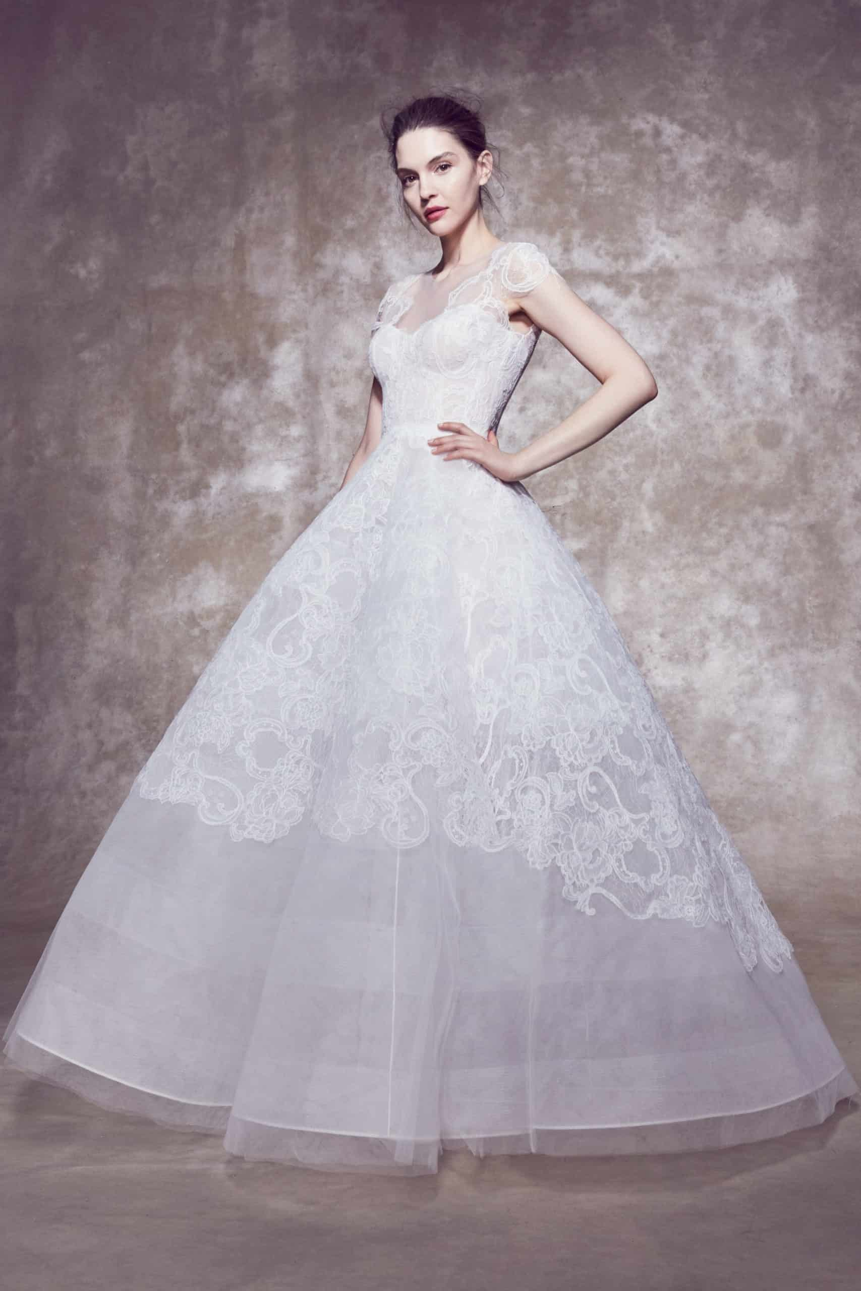 classic wedding dress with lace by Marchesa