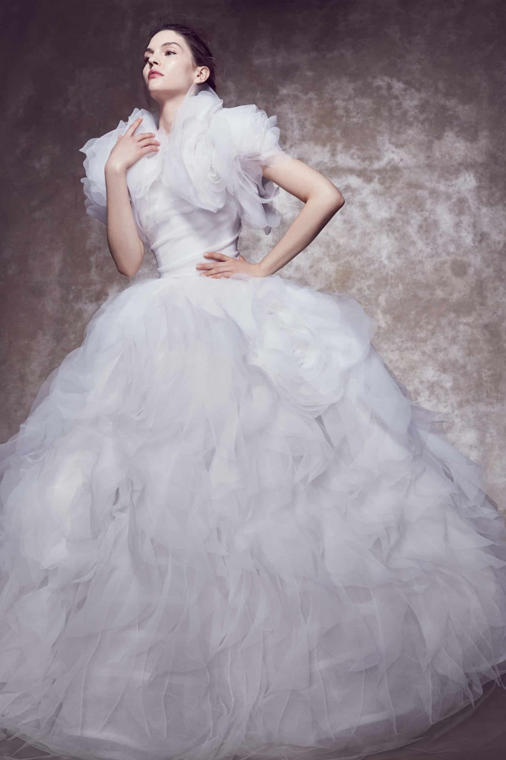 princess line wedding dress with large tulle sleeves by Marchesa
