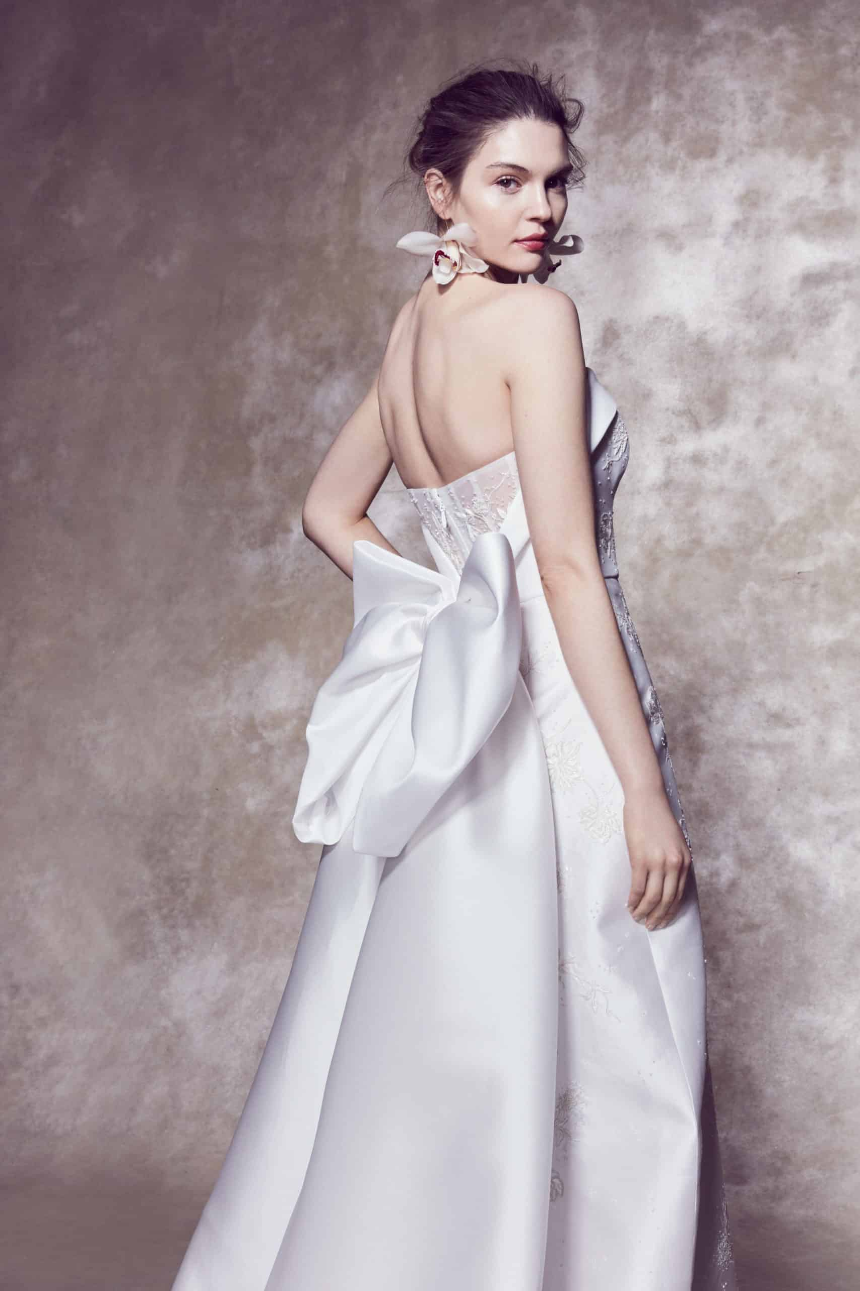 strapless wedding dress with back large bow by Marchesa