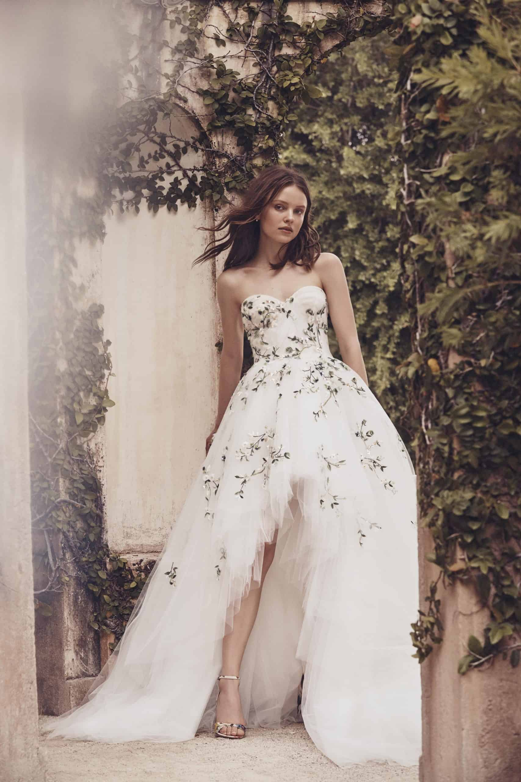 strapless white tulle wedding dress with embossed leaves by Monique Lhuillier