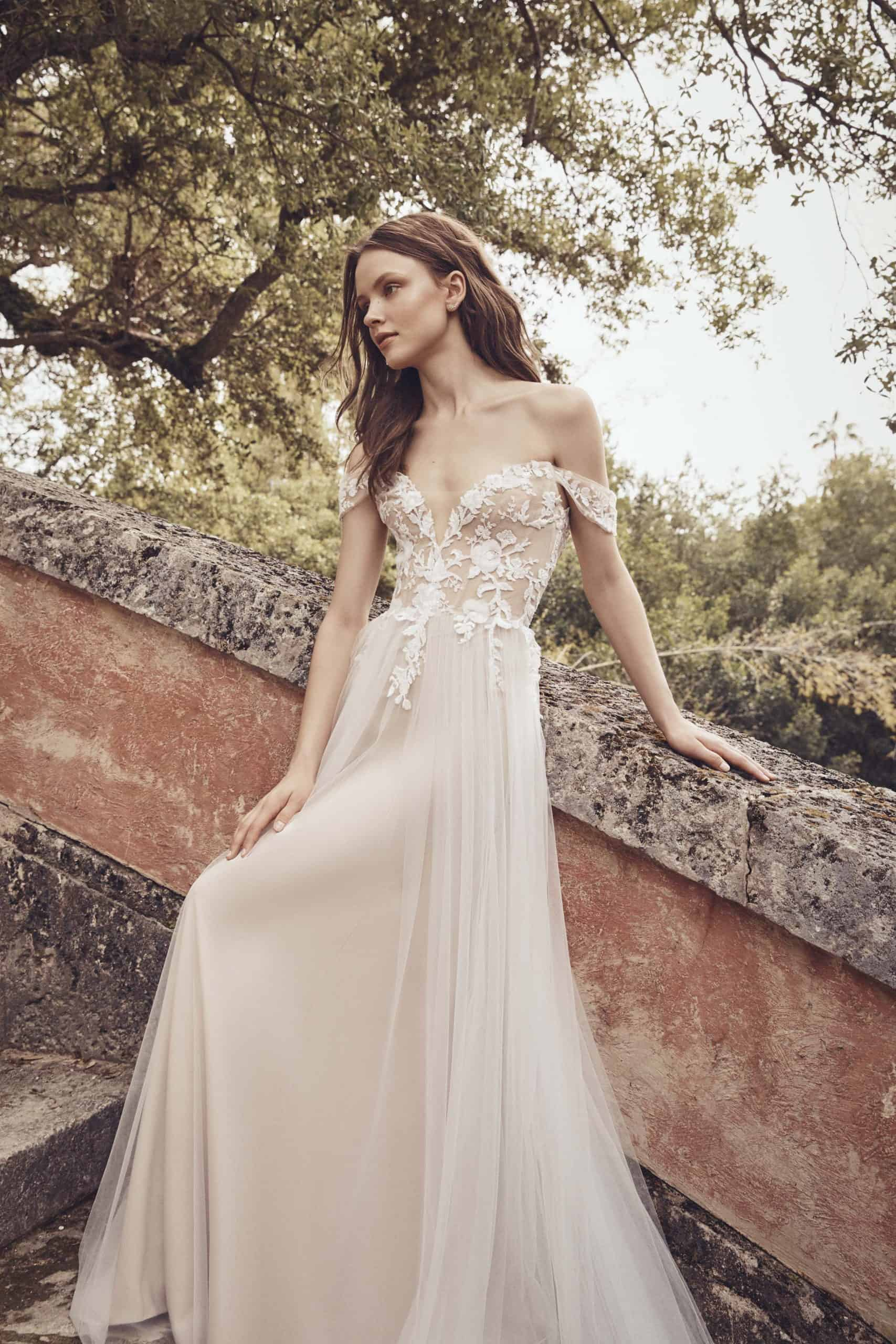 tulle wedding dress with lace by Monique Lhuillier