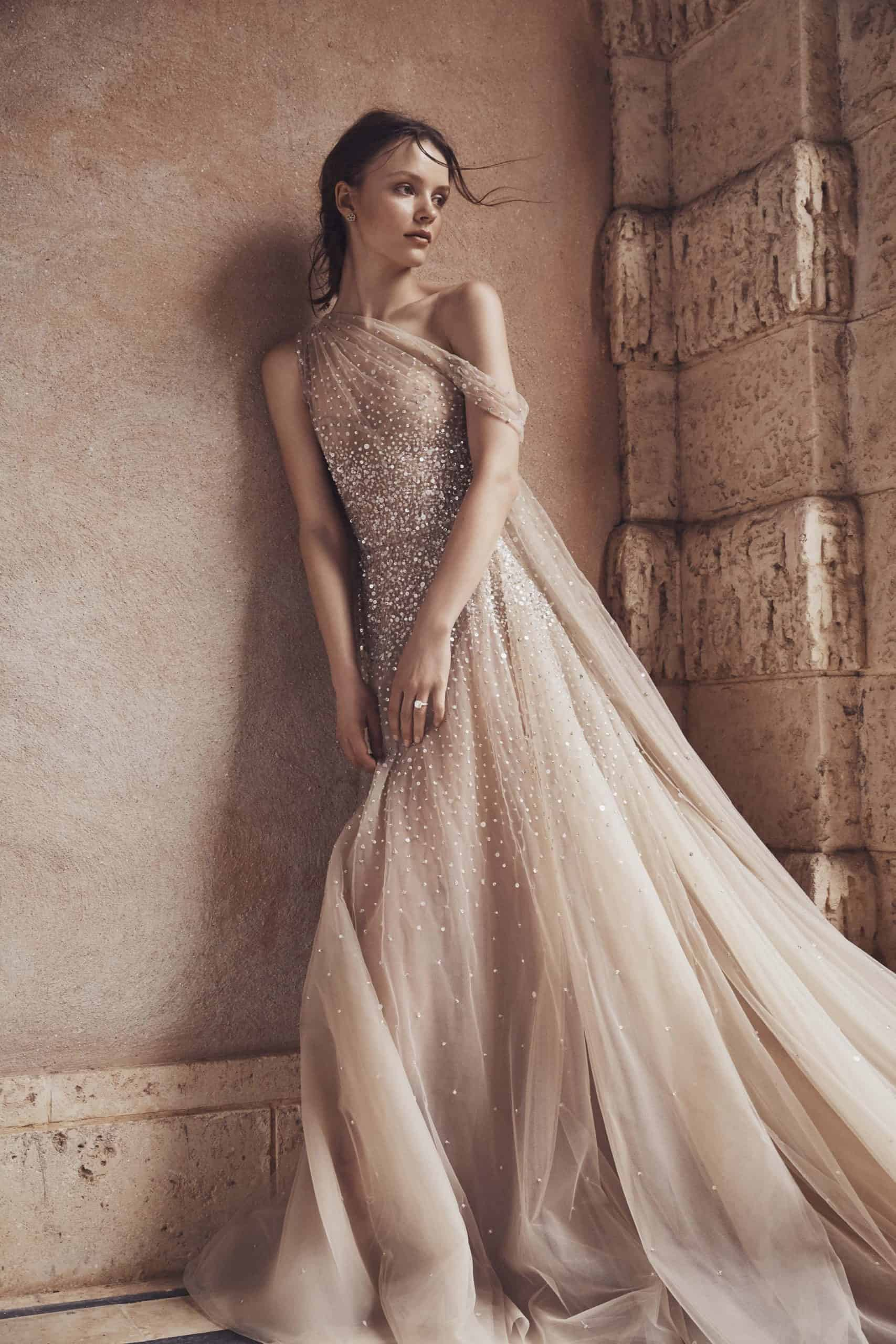 tulle wedding dress with diamonds by Monique Lhuillier