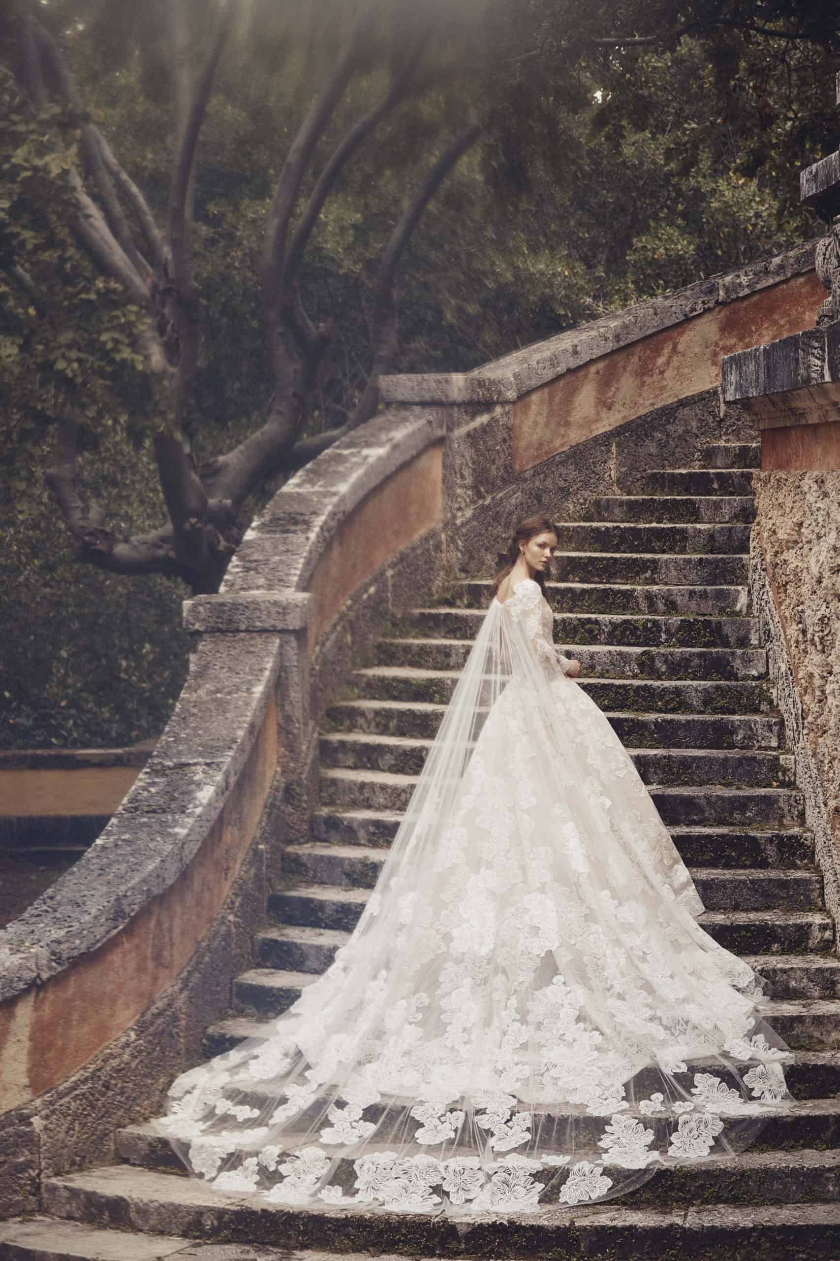 a-lined wedding dress with a laced cape by Monique Lhuillier