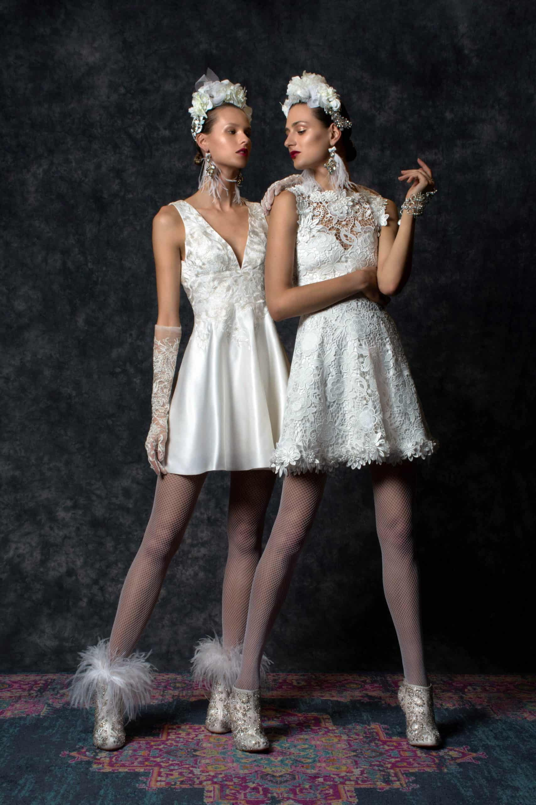 short wedding dresses with satin and lace gloves by Naeem Khan