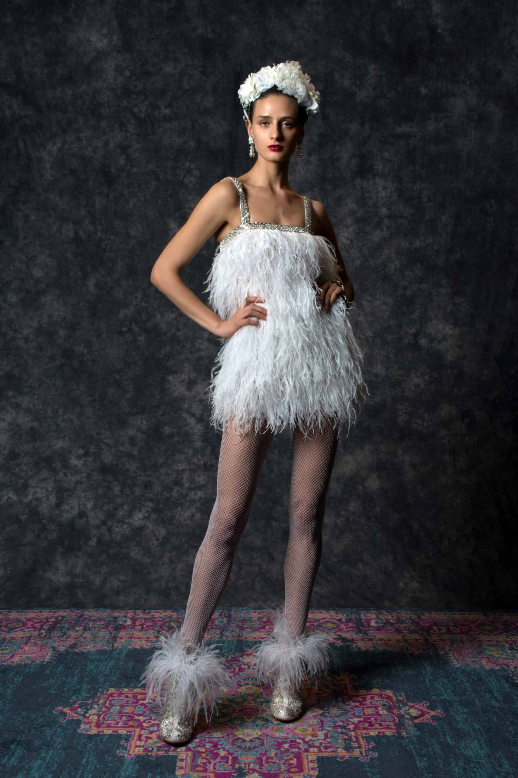 wedding dress with feathers by Naeem Khan