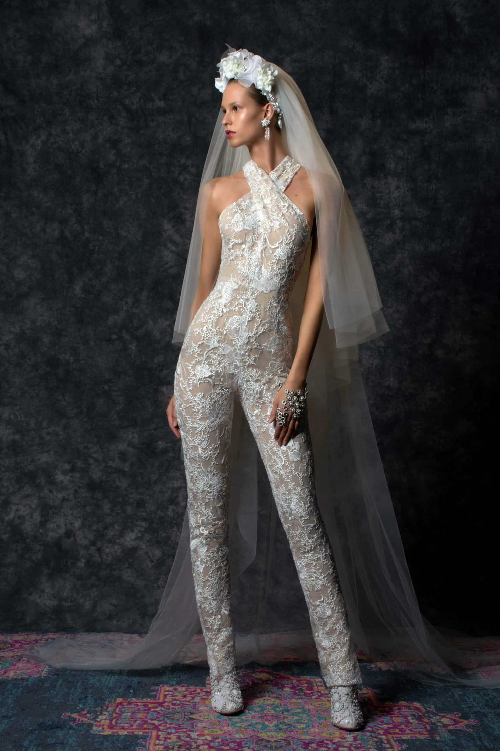 laced jumpsuit wedding dress by Naeem Khan