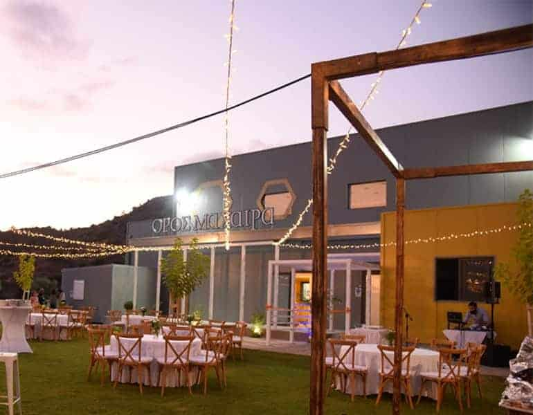 A wedding reception setup and DJ at Oros Machera Events in Cyprus.